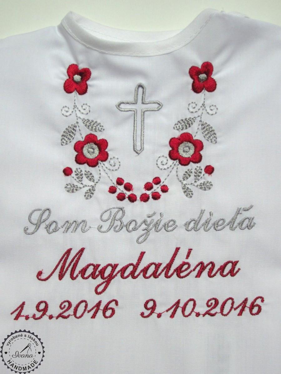 507ae7bd8 Košieľka na krst k14 bavlna biela, bordovo-šedá výšivka s krížikom