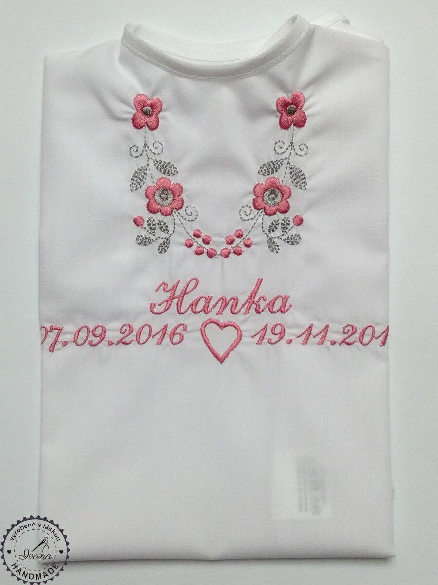 d390ae02b Košieľka na krst k14 bavlna biela, ružovo-šedá výšivka a srdiečko