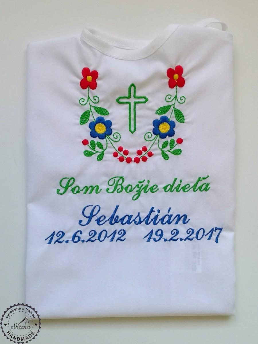 034aaa6f4 Košieľka na krst k14 modro-zelená s krížikom